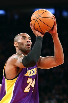 Dec. 13, 2012; New York, NY, USA; Los Angeles Lakers shooting guard Kobe Bryant (24) shoots a free throw against the New York Knicks during the first half at Madison Square Garden. Mandatory Credit: Debby Wong-USA TODAY Sports...