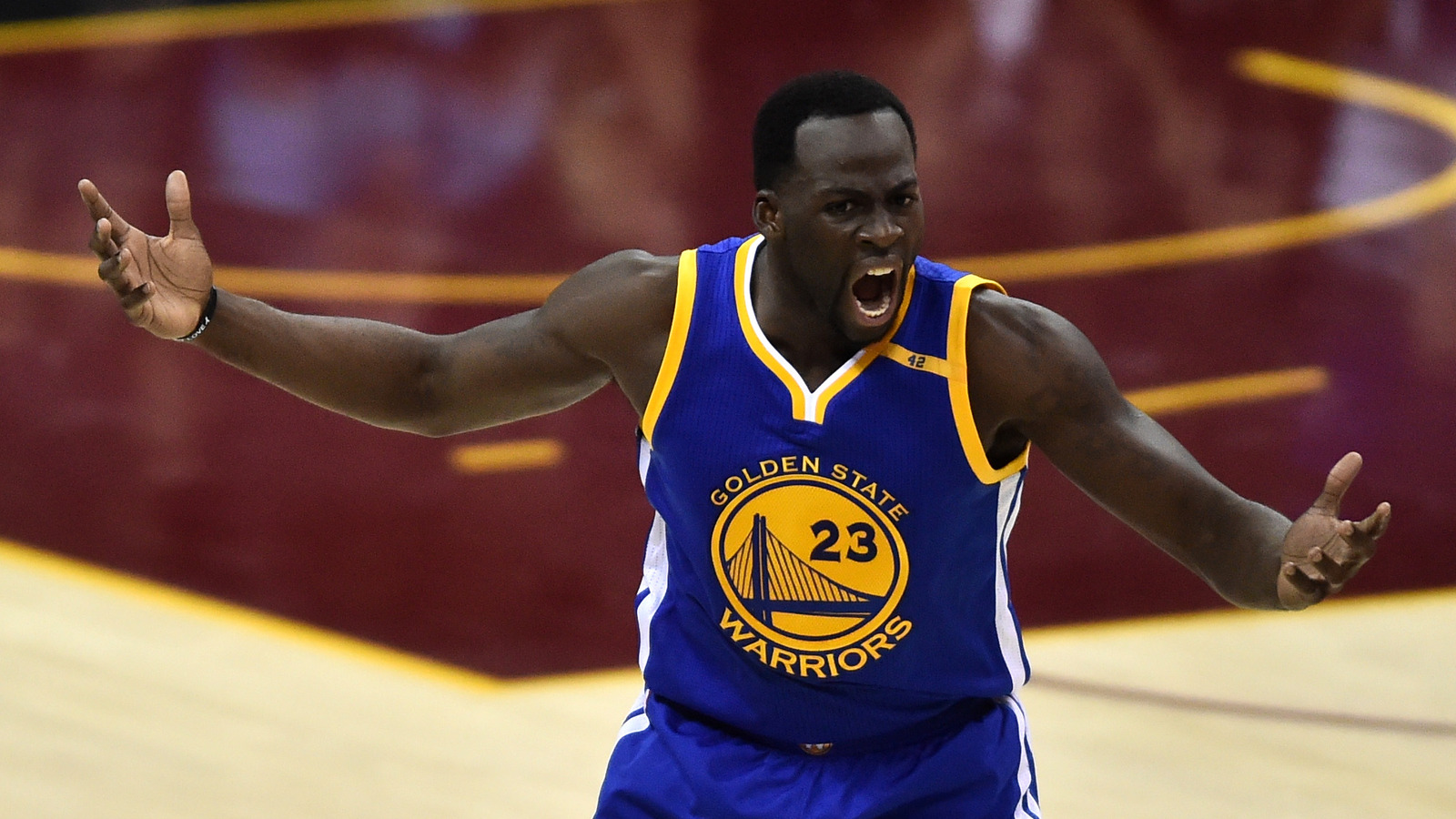 ... Golden State Warriors forward Draymond Green (23) reacts during the  first quarter against the Cleveland Cavaliers in game four of the Finals for  the ... b84894649