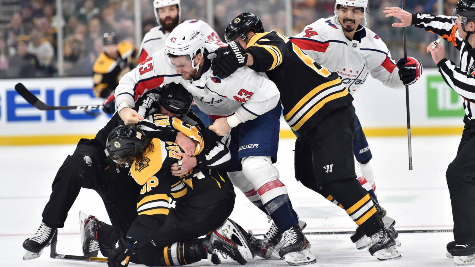 Capitals' Tom Wilson says Bruins' David Pastrnak lost bet that led to wild tweet
