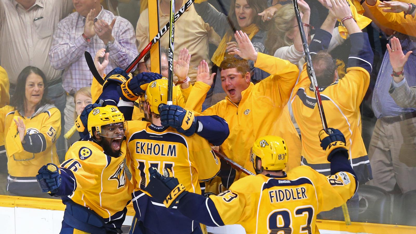 May 22 2017 Nashville TN USA Predators Defenseman PK Subban 76 Reacts With Teammates After A Goal Scored By Center Filip Forsberg Back
