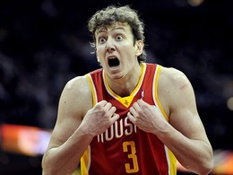 Jan 5, 2013; Cleveland, OH, USA; Houston Rockets center Omer Asik (3) reacts after committing a foul in the fourth quarter against the Cleveland Cavaliers at Quicken Loans Arena. Mandatory Credit: David Richard-USA TODAY Sports...
