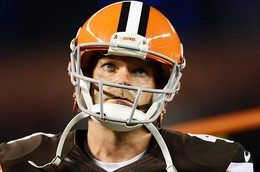 August 24, 2012; Cleveland, OH USA: Cleveland Browns kicker Phil Dawson (4) watches the scoreboard during the second quarter against the Philadelphia Eagles in a preseason game at Cleveland Browns Stadium.  Mandatory Credit: Eric P. Mull-USPRESSWIRE...