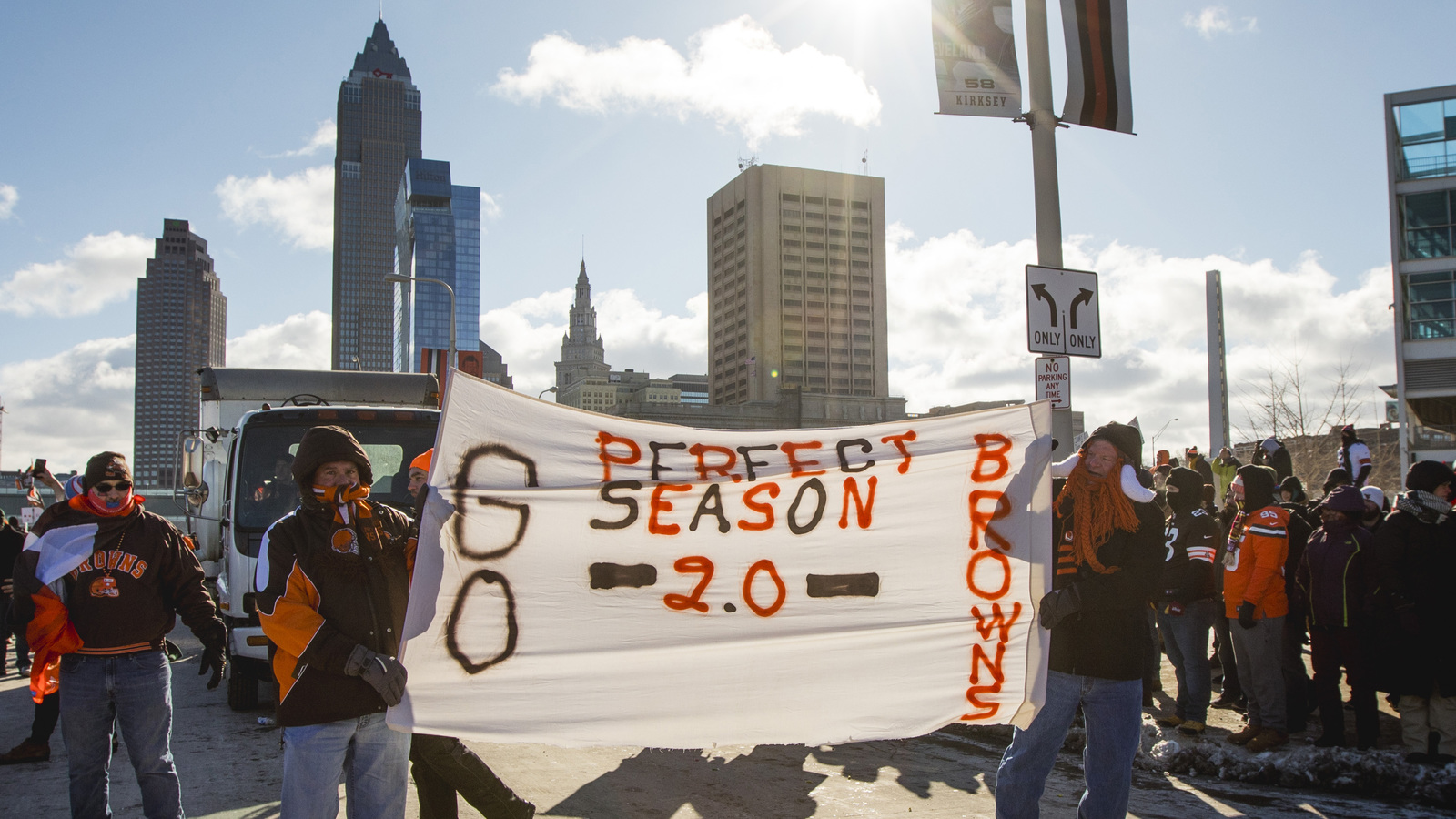 Scenes from the controversial Browns winless parade