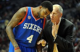 Dec. 29, 2012; Portland, OR, USA; Philadelphia 76ers head coach Doug Collins has some words with small forward Dorell Wright (4) during the first quarter of the game against the Portland Trail Blazers at the Rose Garden. Mandatory Credit: Steve Dykes-USA TODAY Sports...