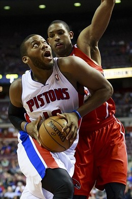 January 4, 2013; Auburn Hills, MI, USA; Detroit Pistons center Greg Monroe (10) moves the ball on Atlanta Hawks center Al Horford (15) in the fourth quarter at The Palace. Detroit won 85-84. Mandatory Credit: Rick Osentoski-USA TODAY Sports...