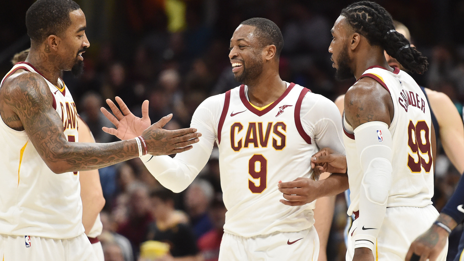 Dec 2, 2017; Cleveland, OH, USA; Cleveland Cavaliers guard Dwyane Wade (9)  and guard JR Smith (5) celebrate during the second half against the Memphis  ...