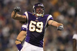 Oct 25, 2012; Minneapolis, MN, USA; Minnesota Vikings defensive end Jared Allen (69) celebrates a play during the third quarter against the Tampa Bay Buccaneers at the Metrodome. Mandatory Credit: Brace Hemmelgarn-USA TODAY Sports...