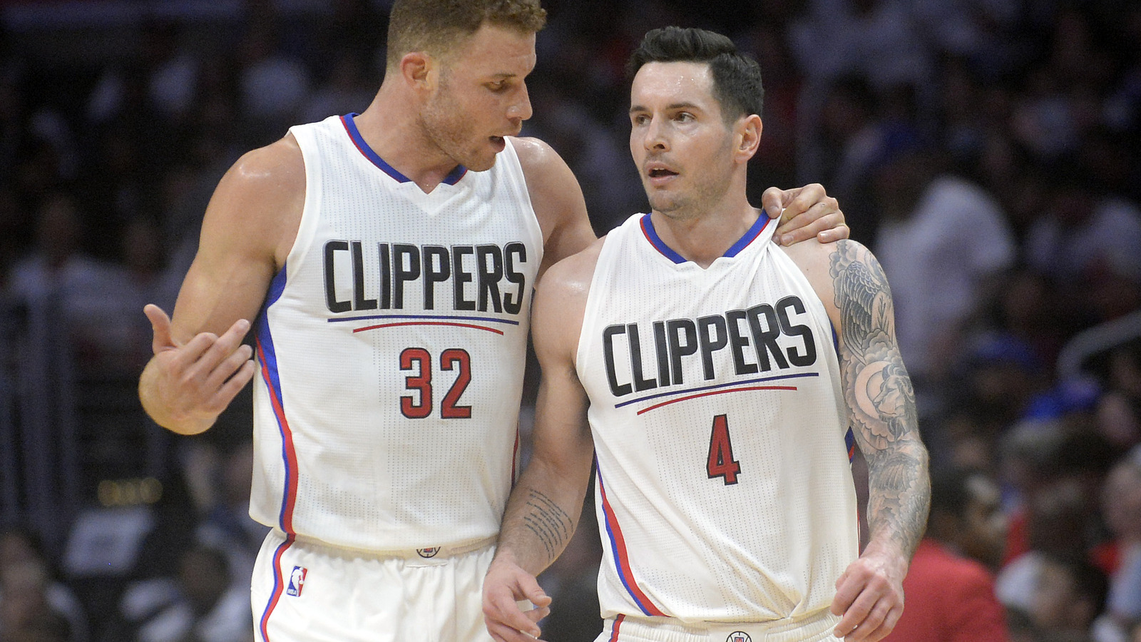 La clippers the impact of blake griffins surgery on the team foxsports com - Blake Griffin Speaks With Los Angeles Clippers Guard Jj Redick During A Time Out Against The Utah Jazz In The Second Half In Game 2 Of The First Round Of