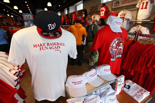 Nationals selling make baseball fun again merchandise for Bryce harper mvp shirt
