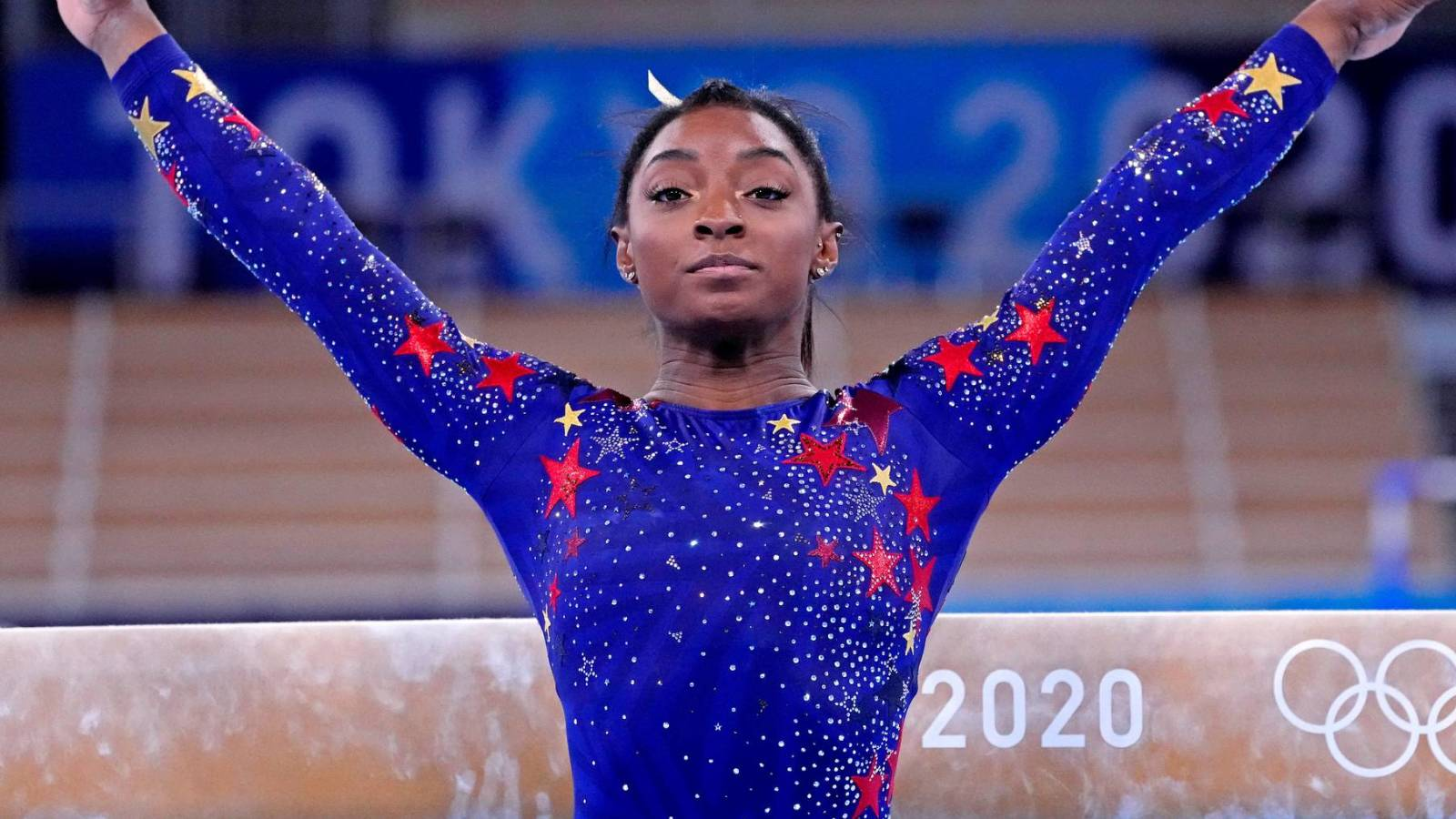 Simone Biles returns to compete in the final of the beam