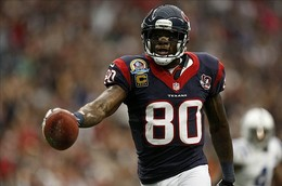Dec 16, 2012; Houston, TX, USA; Houston Texans wide receiver Andre Johnson (80) catches a pass for a touchdown against the Indianapolis Colts during the first quarter at Reliant Stadium. Mandatory Credit: Thomas Campbell-USA TODAY Sports...