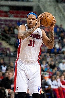 Dec 30, 2012; Auburn Hills, MI, USA; Detroit Pistons power forward Charlie Villanueva (31) during the fourth quarter against the Milwaukee Bucks at The Palace. Pistons won 96-94. Mandatory Credit: Tim Fuller-USA TODAY Sports...