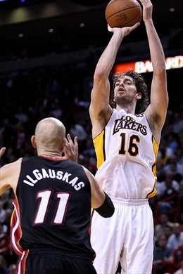 March 10, 2011; Miami, FL, USA; Los Angeles Lakers power forward Pau Gasol (16) shoots over Miami Heat center Zydrunas Ilgauskas (11) during the second quarter at the American Airlines Arena. Mandatory Credit: Derick E. Hingle-USA TODAY Sports...