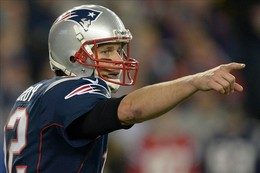 Jan 13, 2013; Foxboro, MA, USA; New England Patriots quarterback Tom Brady (12) gestures against the Houston Texans  in the AFC Divisional Round playoff game at Gillette Stadium. The Patriots defeated the Texans 41-28. Mandatory Credit: Kirby Lee/USA TODAY Sports...