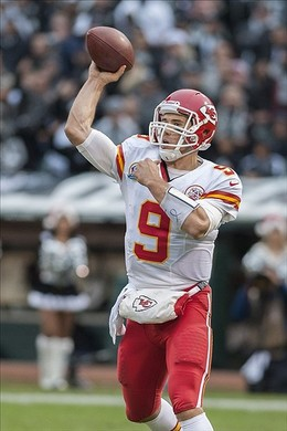 Dec 16, 2012; Oakland, CA, USA; Kansas City Chiefs quarterback Brady Quinn (9) throws a pass against the Oakland Raiders during the third quarter at O.co Coliseum.   The Oakland Raiders defeated the Kansas City Chiefs 15-0. Mandatory Credit: Ed Szczepanski-USA TODAY Sports...