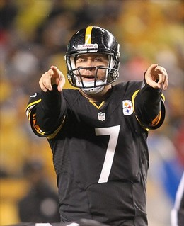 November 12, 2012; Pittsburgh, PA, USA; Pittsburgh Steelers quarterback Ben Roethlisberger (7) gestures at the line of scrimmage against the Kansas City Chiefs during the second quarter at Heinz Field. The Pittsburgh Steelers won 16-13 in overtime. Mandatory Credit: Charles LeClaire-US PRESSWIRE...