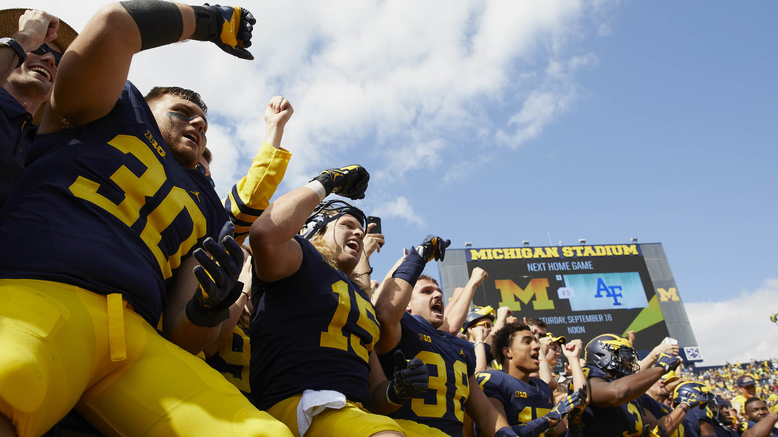 Sep 9, 2017; Ann Arbor, MI, USA; Michigan Wolverines players celebrate after defeating the Cincinnati Bearcats at Michigan Stadium. Rick Osentoski-USA TODAY ...
